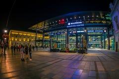 Shopping center Rajiceva at night. Belgrade, Serbia Stock Images