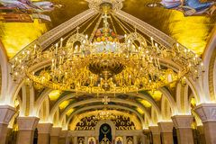 Saint Sava Temple Golden Chandelier In Belgrade Serbia Stock Image