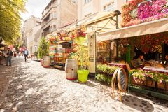 Skandarlija Skandarska, Belgrade, Serbia. BELGRADE, Serbia - 4 Sept: Tourists enjoy the cafes of Skandarlija Skandarska, Belgrade`s bohemian quarter, on 4 Sept royalty free stock images