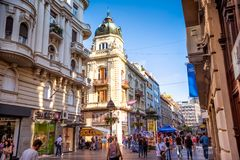 BELGRADE, SERBIA - SEPTEMBER 23, 2015: Pedestrian street of Knez Royalty Free Stock Photo