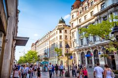 BELGRADE, SERBIA - SEPTEMBER 23, 2015: Pedestrians walking along Royalty Free Stock Photo