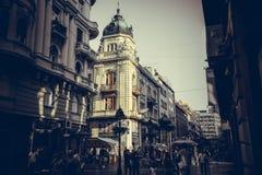 BELGRADE, SERBIA - SEPTEMBER 23: Knez Mihailova Street on September 23, 2015 in Belgrade, Serbia. Street is the main shopping mile Royalty Free Stock Image