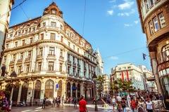 BELGRADE, SERBIA - SEPTEMBER 23: People walking on Knez Mihajlova Royalty Free Stock Images