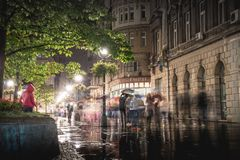 BELGRADE, SERBIA - SEPTEMBER 25: Rainy inght at Knez Mihailova S Stock Photos