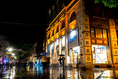 BELGRADE, SERBIA - SEPTEMBER 25: Rainy night at Knez Mihailova S Royalty Free Stock Photo