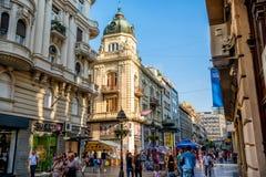 BELGRADE SERBIA, WRZESIEŃ, - 23: Knez Mihailova ulica na Septem zdjęcie stock