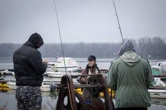BELGRADE, SERBIE - 7 FÉVRIER 2015 : Pêcheurs pêchant sur le Danube dans le secteur de Zemun Photographie stock