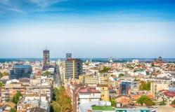 Belgrade, Serbie 11 09 2017 : Panorama de Belgrade pris du saint Sava de temple Photographie stock