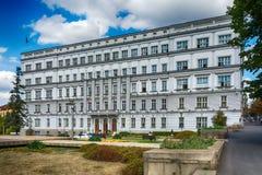 Belgrade Serbien 07/09/2017: Byggnad av departementet av finans i Belgrade Arkivbilder