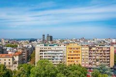Belgrade Serbien 11 09 2017 : Panorama av Belgrade som tas från tempelhelgonet Sava Royaltyfri Fotografi