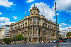 Belgrade Serbien 07/09/2017: Regering av republiken av Serbien Royaltyfria Foton