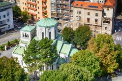 Belgrade Serbien - September 11, 2017: Se från synvinkeln på tempelhelgonet Sava Royaltyfria Foton