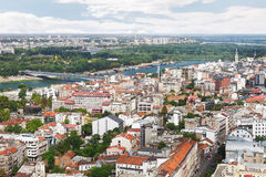 Belgrade skyline , old and new part of city,  Sava and Danube river, aerial view Royalty Free Stock Photos