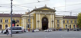 belgrade som bygger den gammala järnväg serbia stationen Arkivbilder