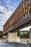 Belgrade Stary Kolejowy Kratownicowy most na Sava rzece - Serbia Zdjęcia Royalty Free