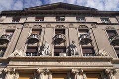 Belgrade street facade. Walking over the morning Belgrade Royalty Free Stock Photos