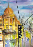 Belgrade street view. Watercolor painting of street view in Belgrade Royalty Free Stock Images