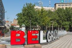 Belgrade tecken på Nikola Pasic Square royaltyfria foton