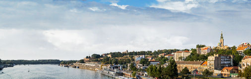 Belgrade Panorama. With Tourist port on Sava river, with Kalemegdan fortress and St. Michaels Cathedral bell tower, Belgrade - Serbia royalty free stock photo