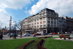Belgrade urban view. Old building, street and park in center of Belgrade Stock Images