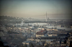 Belgrade View. A panoramic view of rivers and bridges in Belgrade Stock Photos