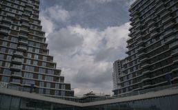 Belgrade waterfront modern building with sky in background stock photos