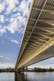 Belgrade zawieszenia most Nad Ada piędzi Główną budową Det Zdjęcia Royalty Free