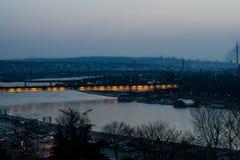 Belgrado alla notte Immagini Stock