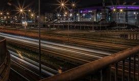 Belgrado bij nacht stock foto's