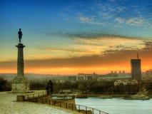 Belgrado bij zonsondergang Stock Foto