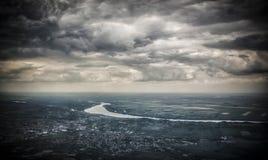 Belgrado da un aeroplano fotografia stock libera da diritti