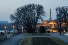 Belgrado na noite Fotografia de Stock
