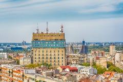 Belgrado, Sérvia 11 09 2017 : Panorama de Belgrado tomado de Saint Sava do templo Fotografia de Stock Royalty Free