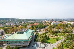 Belgrado, Serbia 11/09/2017: biblioteca nazionale di Belgrado Immagine Stock Libera da Diritti