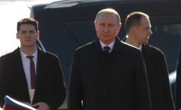 Belgrado, Serbia 17 de janeiro de 2019 Presidente da Federação Russa, Vladimir Putin na visita oficial a Belgrado, Sérvia imagens de stock