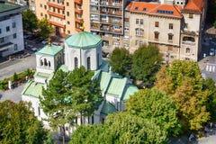 Belgrado, Serbia - 11 de septiembre de 2017: Mire del punto de vista en el santo Sava del templo Fotos de archivo libres de regalías