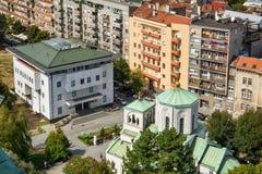 Belgrado, Serbia - 11 de septiembre de 2017: Mire del punto de vista en el santo Sava del templo Imagen de archivo libre de regalías
