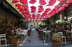 BELGRADO, SERBIA 6 GIUGNO 2019: Ombrelli rossi sopra il ristorante all'aperto in via Belgrado, Serbia di re Peter immagini stock libere da diritti