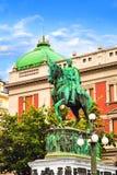 BELGRADO, SERBIA - 10 MAGGIO: Principe Mihailo Monument il 10 maggio 2016 a Belgrado È situato nel quadrato principale della Repu fotografie stock libere da diritti