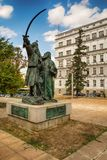 Belgrado, Serbia 07/09/2017: Monumento di Milos Obrenovic a Belgrado fotografia stock libera da diritti