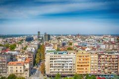 Belgrado, Serbia 11 09 2017 : Panorama di Belgrado preso dal san Sava del tempio Fotografie Stock Libere da Diritti