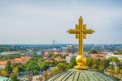 Belgrado, Serbia - 11 settembre 2017: Guardi dal punto di vista sul san Sava del tempio a Belgrado Fotografie Stock Libere da Diritti