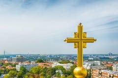 Belgrado, Serbia - 11 settembre 2017: Guardi dal punto di vista sul san Sava del tempio a Belgrado Fotografie Stock
