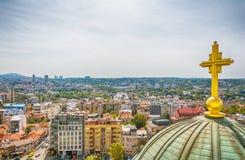 Belgrado, Serbia - 11 settembre 2017: Guardi dal punto di vista sul san Sava del tempio a Belgrado Immagine Stock