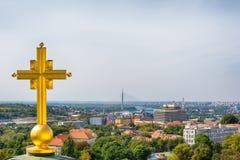Belgrado, Serbia - 11 settembre 2017: Guardi dal punto di vista sul san Sava del tempio a Belgrado Fotografia Stock