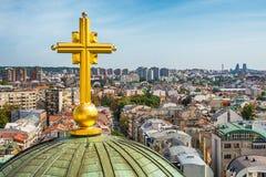 Belgrado, Serbia - 11 settembre 2017: Guardi dal punto di vista sul san Sava del tempio a Belgrado Fotografia Stock Libera da Diritti