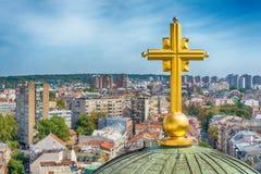 Belgrado, Serbia - 11 settembre 2017: Guardi dal punto di vista sul san Sava del tempio a Belgrado Immagini Stock Libere da Diritti