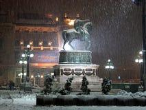 Belgrado Servië 10 december, 2017 Sneeuw op het vierkant van de Republiek stock afbeeldingen