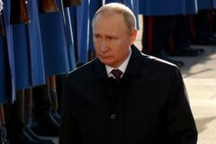 Belgrado, Servië 17 januari 2019 Voorzitter van Russische Federatie, Vladimir Putin in officieel bezoek aan Belgrado, Servië royalty-vrije stock foto's