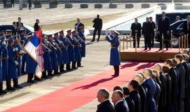 Belgrado, Servië 17 januari 2019 Voorzitter van Russische Federatie, Vladimir Putin in officieel bezoek aan Belgrado, Servië royalty-vrije stock afbeelding